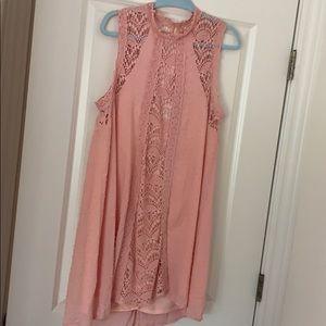 High neck boutique blush lace dress